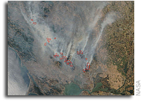 Orbital View Of Wildfires in California