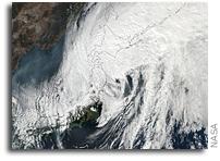 Orbital View Of Extra-Tropical Cyclone Lan Speeding Through Northern Japan