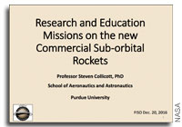 NASA Future In-Space Operations: Research and Education Missions on the New Commercial Sub-orbital Rockets