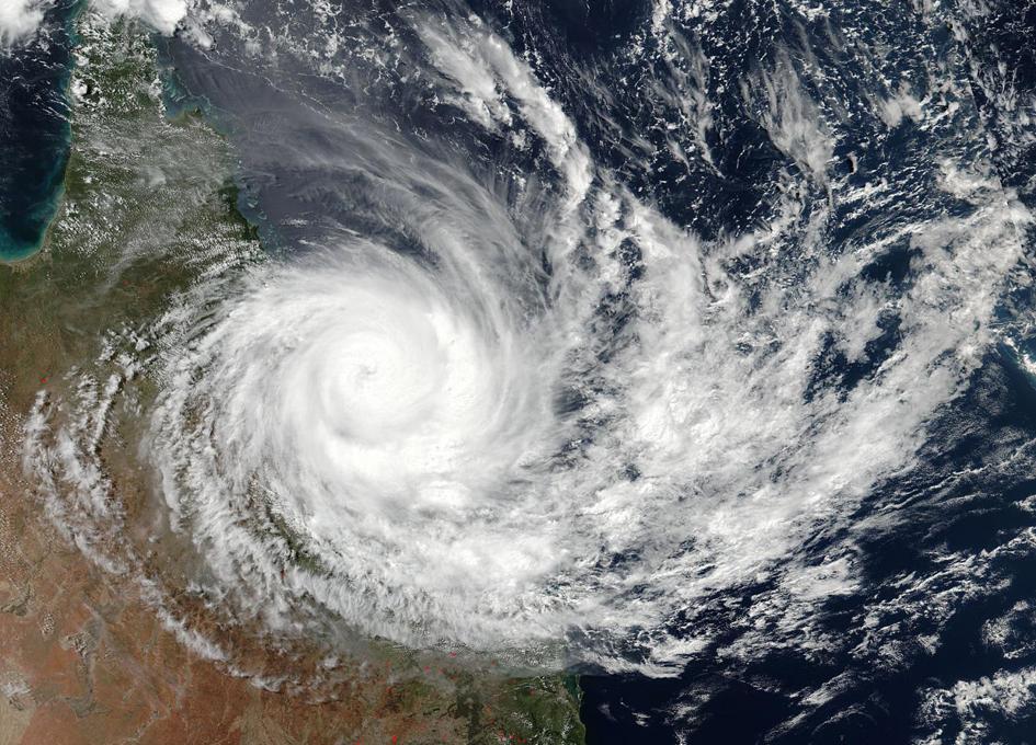 Orbital View As Tropical Cyclone Debbie Makes Landfall in Queensland