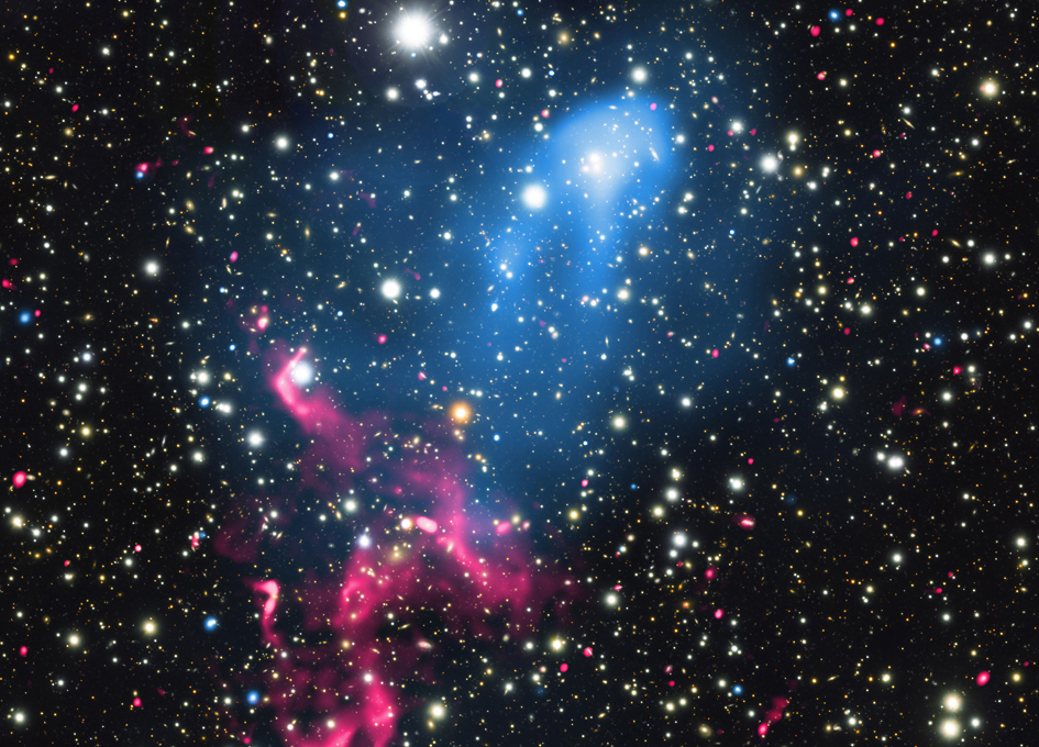 Supermassive Black Hole In The Midst of Two Coliding Galaxy Clusters