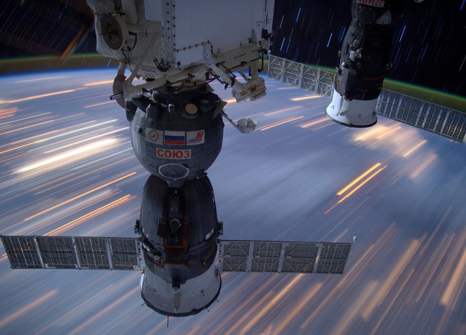 Streaking Star Trails And Streetlights Seen From Orbit