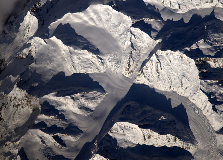 Glaciers and Snow in the Alps Seen From Space