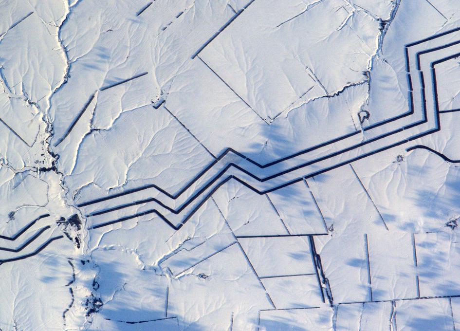 Minimalist Snow Art Seen From Orbit