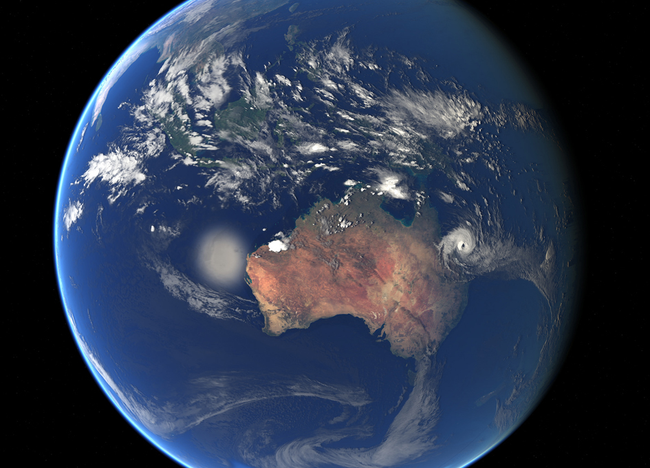 Tropical Cyclones Caleb and Debbie Seen From Space