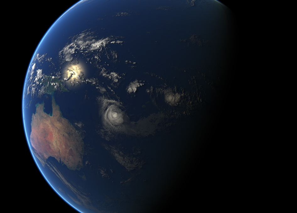 Tropical Cyclones Donna and Ninteen Seen From Space