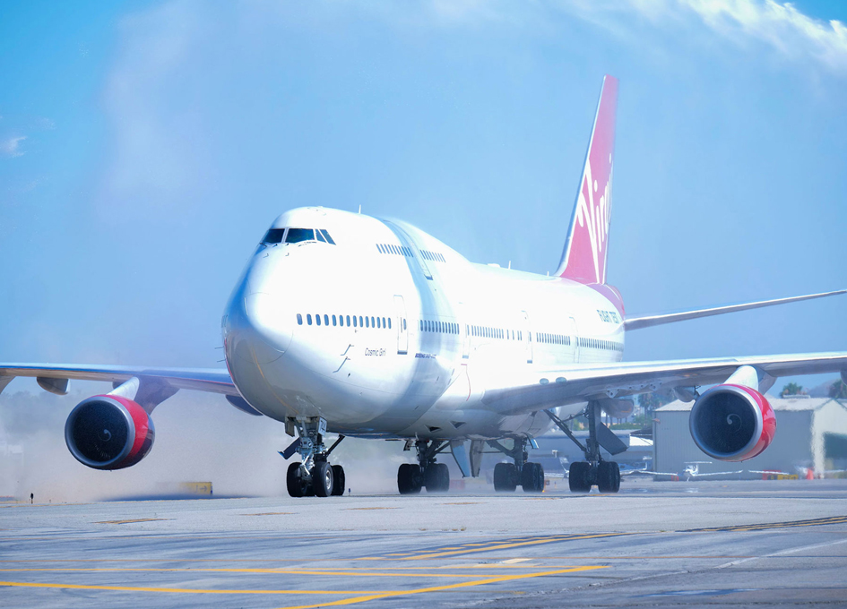 Virgin Orbit's 747-400 Rocket Launch Platform Lands in Long Beach Airport
